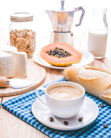 Traditional and healthy breakfast with espresso coffee