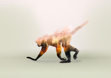 Incendio boschivo, caccia proibita, estinzione di animali e deforestazione | Delitto per l'ambiente Archivio Fotografico - 92353630