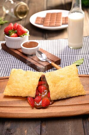 Strawberry pastry with chocolate - Traditional Brazilian