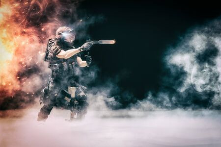 3D Illustration - Solitary Soldier (Police Officer) in confrontation with terrorists, bandits and others