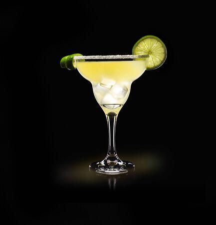 Margarita - Popular Drink on a black background Stock Photo