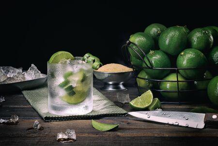 Brazilian traditional caipirinha (cacha?a, lemon and sugar)