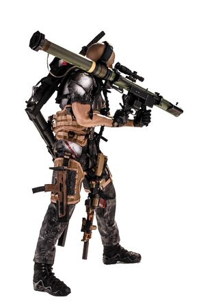 3d illustration - Soldier in operation holding a rocket launcher - Future War