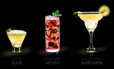 Famous drinks (Pisco Sour, Mojito Strawberry, Margarita) Stock Photo