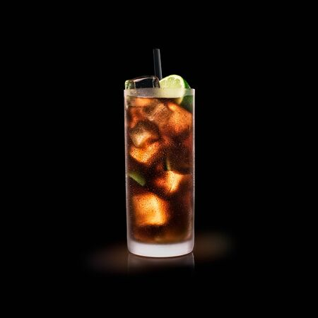 Cuba Libre - Popular Drink on a black background