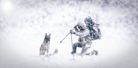 3D Illustration - Rescue in the snow with german shepherd dog and firefighter mountaineer Stock Photo