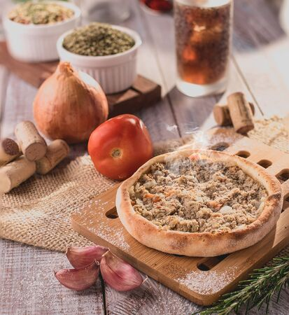 Traditional Arabic Esfiha of open tuna (Brazil)