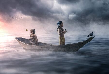 Dramatic scene of two children in a boat drifting and lost in the ocean