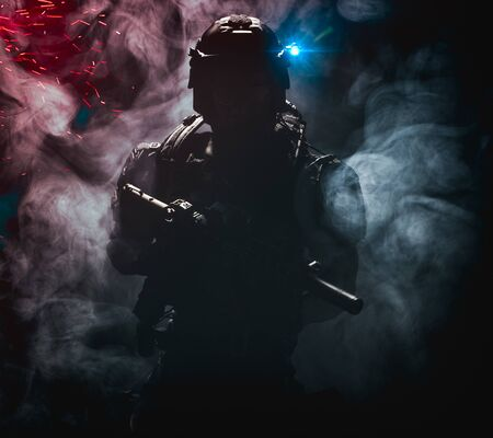 Shadow (silhouette) of a mysterious military soldier - 3d illustration