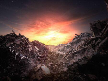 Apocalypse rubble at sunset - Illustration