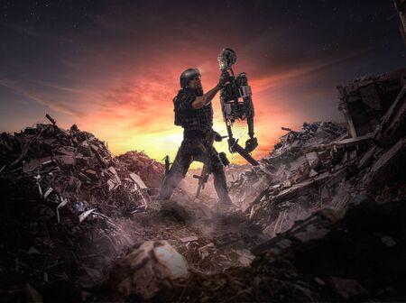 Robotic War (men vs machines) - Illustration of an apocalyptic - 3d Illustration Stock Photo