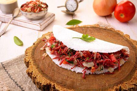 Dry Meat Tapioca (Carne Seca) | - Typical northeastern Brazilian food Stock Photo