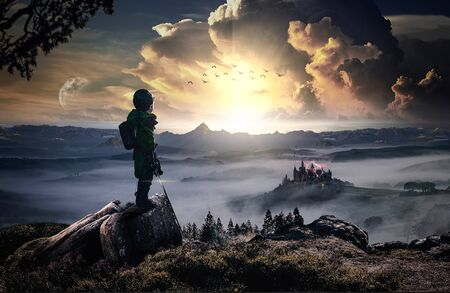 The revenge of a heroic and brave child against an evil castle (Fantasy) Stock Photo