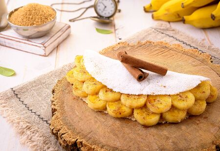 Tapioca Banana | Manioc flour pancake with caramelized banana, condensed milk and cinnamon - Typical food of the Brazilian Northeast