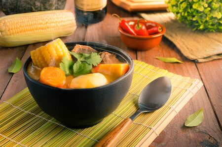 Cazuela - Traditional Chilean Food - Vegetable soup with meat
