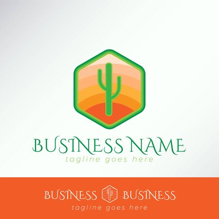 Simple Cute green Cactus Logo Template in a hexagonal orange badge for business, company, organization, community.