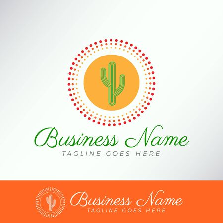 Simple Charming green Cactus Logo Template in a dots circle orange badge for business, company, organization, community.