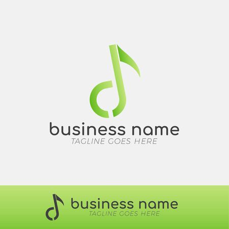 Modern Musical Logo Template for Business, Company, Application, Icon or Button with Green Gradient Color