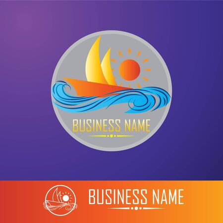 Vector Illustration templates for company logos, business identity or web design. Sailing cruise, yachting, resort hotel, navigation and other themes.