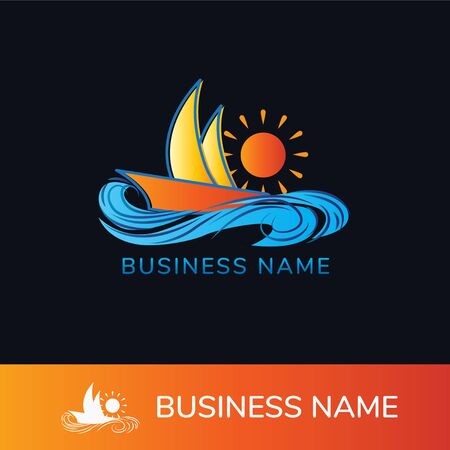 Colorful Vector Illustration templates for company logos, business identity or web design. Sailing cruise, yachting, resort hotel, navigation and other themes. Çizim