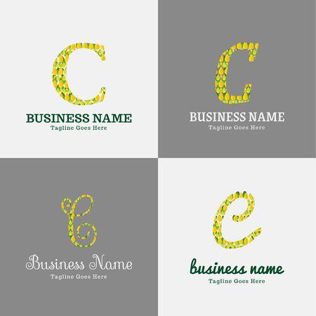 Modello di progettazione del logo vettoriale per affari, società, associazioni, applicazioni, icone o pulsanti con colori futuristici. Foliage Script Font Lettera iniziale c Logo