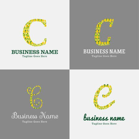 Vector logo design template for business, company, association, application, icon or button with futuristic color. Foliage Script Font Initial Letter c Illusztráció
