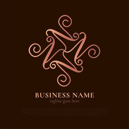 Elegant Luxury Logo Template for Business, Product, Company, Event, Wedding, Personal Brading with Silver Gold Style. N Initial Letter with quadruple form