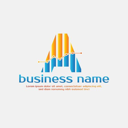 Accounting Template for Finance Business or Accountant with Alphabetical Letter A and Graphic Bar Sign