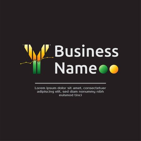 Accounting Template for Finance Business or Accountant with Alphabetical Letter Y and Graphic Bar Sign