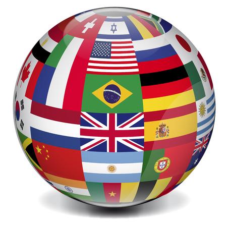 bol van de wereld gevormd door internationale vlaggen Stock Illustratie