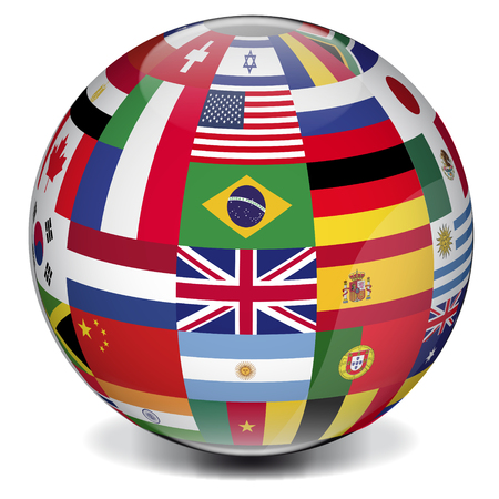international flags: World globe formed by international flags
