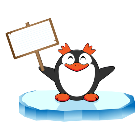 northpole: Funny penguin with signboard