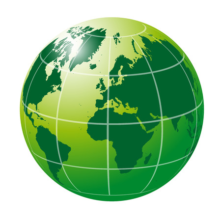 planisphere: Green Globe with lines Illustration