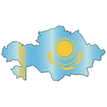 Kazachse vlag kaart Stock Illustratie