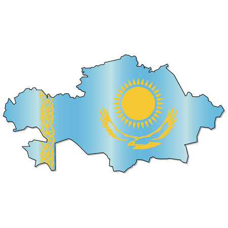 Kazakh flag map Ilustrace