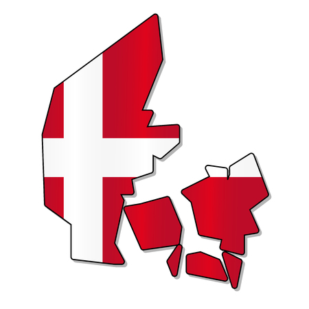 danish flag: Danish flag map Illustration