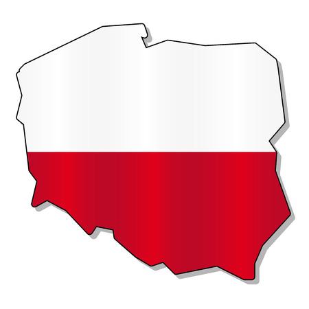 bandera de polonia: Mapa de la bandera de Polonia Vectores