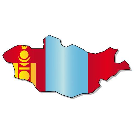 mongolia: Mongolia flag map Illustration