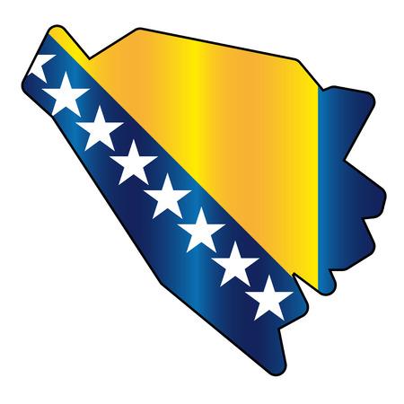 bosnia and herzegovina: Bosnia and Herzegovina flag map