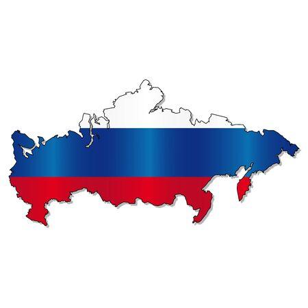 russian flag: Russian flag map Illustration