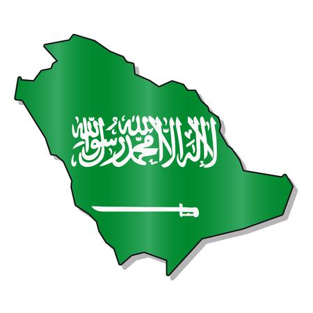 saudi arabia: Saudi arabia flag map Illustration