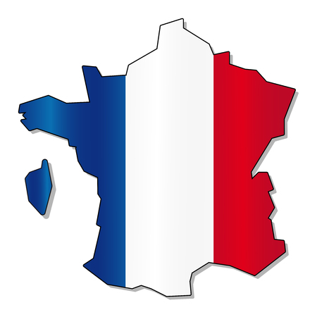 bandera francia: Fance Mapa de la bandera