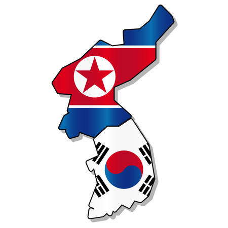 korea: North and south korea flag map Illustration