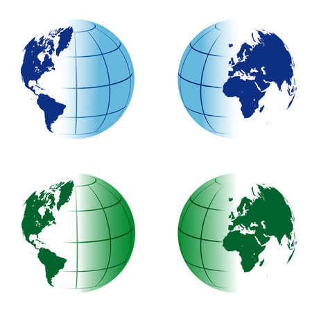 planisphere: Double international blue and green globe