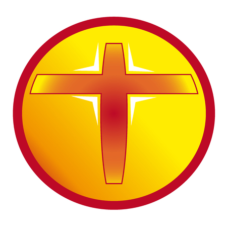 persecution: Christian cross red and yellow