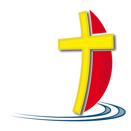 Christian cross ship red and yellow Ilustração