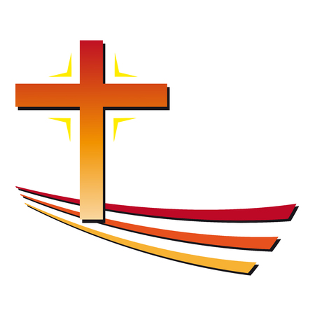 persecution: Christian cross green and red Illustration