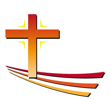 Christian cross green and red Ilustração