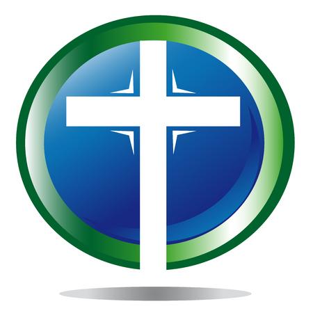 Christian cross blue background