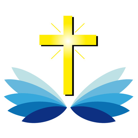 persecution: Christian cross on blue leaf Illustration